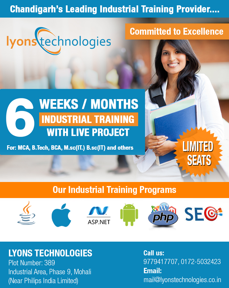 LyonsTechnologies 6 Months Industrial Training In Chandigarh